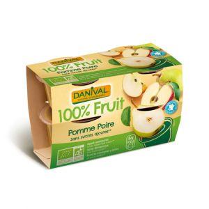 Dessert de fruits pomme/poire sans sucre Bio - Danival