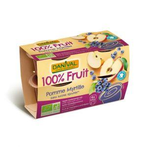 Dessert de fruits pomme/myrtille sans sucre Bio - Danival