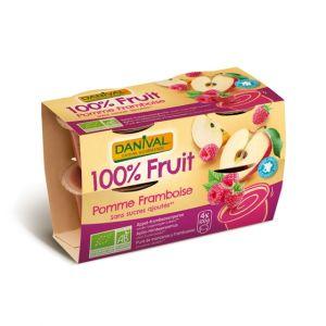 Dessert de fruits pomme/framboise sans sucre Bio - Danival