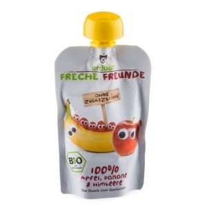 Compote pomme, banane & framboise bio - Freche Freunde