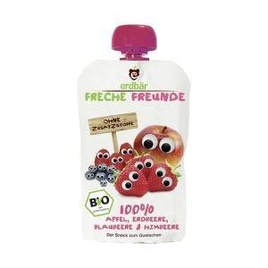 Compote pomme, fraise, myrtille & framboises bio - Freche Freunde