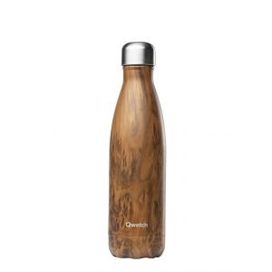 Bouteille isotherme inox - wood brun - 500 ml - Qwetch