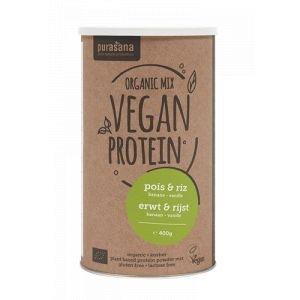 Poudre de protéines végétales pois et riz - banane vanille - Bio - 400 g - Purasana