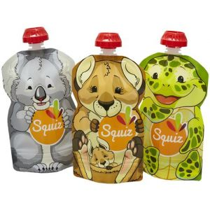 Lot de 3 Gourdes Réutilisables Squiz Australie 130 ml + Squiz'zip - SQUIZ
