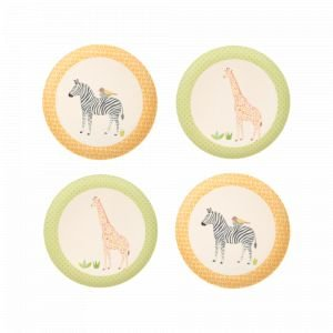 Set 4 petites assiettes en bambou - On Safari - Love Mae
