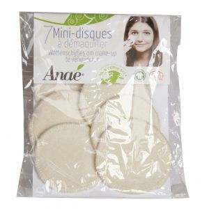 Sachet de 7 mini- disques 6cm à démaquiller lavables en display - Anaé