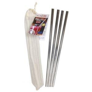 Lot de 4 pailles inox droites + 1 goupillon - Ah Table