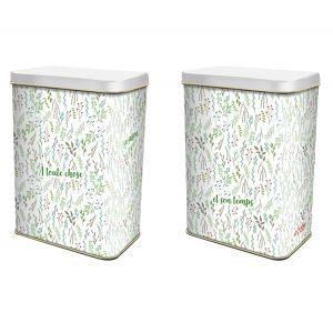 Boite fer blanc rectangle fleurs vertes 120*75*165 - Ah Table