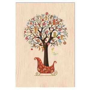 Carte de voeux en bois - arbre de voeux - Pirouette Cacahouète
