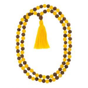Mala Chakra Plexus Solaire Agate jaune et Rudraksha - Artisanat tibétain
