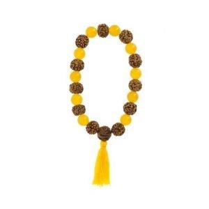 Bracelet-mala Chakra Plexus Solaire Agate jaune et Rudraksha - Artisanat tibétain