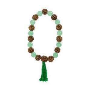 Bracelet-mala Chakra Coeur Aventurine verte et Rudraksha - Artisanat tibétain