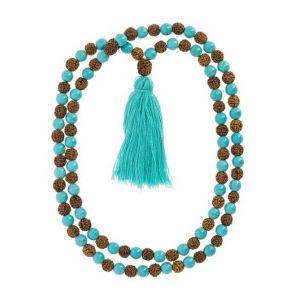 Mala Chakra Gorge Turquoise magnésite et Rudraksha - Artisanat tibétain