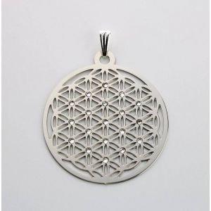 Pendentif fleur de vie acier fin/strass transparent Ø 39 mm