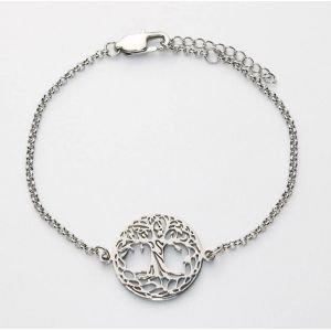 bracelet chaînette arbre de vie acier fin filigrane Ø 20 mm