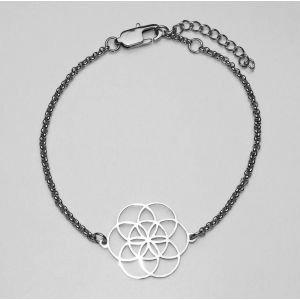 Bracelet chaînette graine de vie acier fin filigrane Ø 20 mm