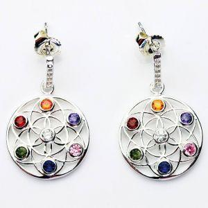 1 paire pendentifs d'oreille chakra fleur de vie argent 925 Ø 17 x 2,5 mm