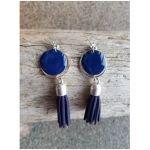 Boucles d'oreilles Luna - Argentées, Bleues - Millescence
