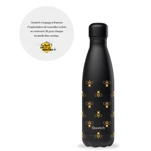 Bouteille isotherme inox - BEE - Noir - 500 ml - Qwetch
