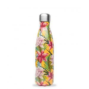 Bouteille isotherme inox - Tropical Fleur Jaune - 500 ml - Qwetch