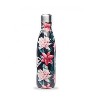 Bouteille isotherme inox - Tropical Fleur Noire - 500 ml - Qwetch