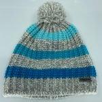 Bonnet à pompon Sam Kids - Gris rayures bleues - Eisglut