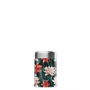 Boîte repas isotherme inox - Tropical fleurs noir - 650ml - Qwetch