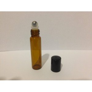 Flacon cylindrique en verre brun Roll-on 15 ml