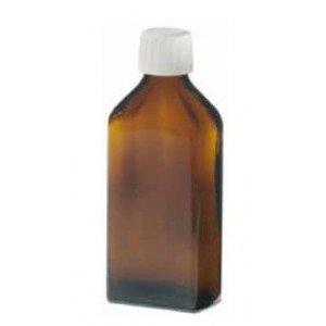 Flacon en verre brun de forme rectangulaire