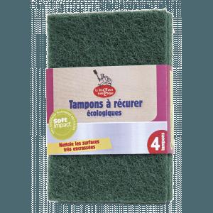 4 tampons à récurer écologiques vert et marron