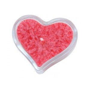 Bougie cœur rouge avec support - Ecodis