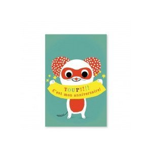 8 cartes invitation Super souris - Pirouette Cacahouète
