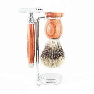 Coffret 3 pièces rasoir de sécurité bois de Rose - Gentleman Barbier