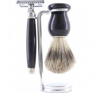 Coffret 3 pièces rasoir de sécurité ébène - Gentleman Barbier