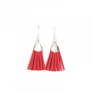Boucles d'oreilles Lilou - Argenté, Rouge - Millescence