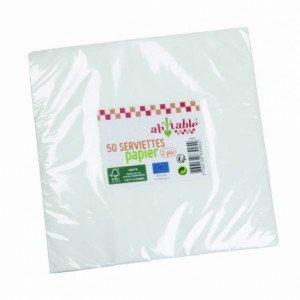 Lot de 50 serviettes blanches en papier