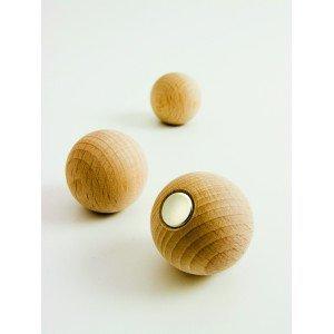 Sachet 3 boules magnétiques bois naturel - Ecodis