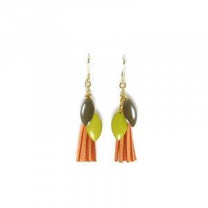 Boucles d'oreilles Maria - Doré, Orange - Millescence