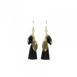 Boucles d'oreilles Maria - Doré, Noir - Millescence